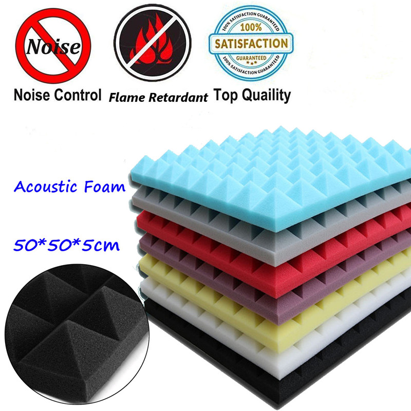 4pcs 500X500X50mm Soundproofing Foam Acoustic Foam Sound Treatment Studio Room Absorption Tiles Polyurethane Foam