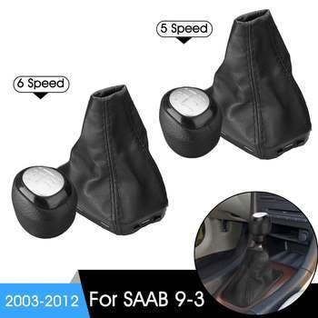 5/6 מהירות רכב Gear Shift Knob שיפטר מנוף עור גייטר אתחול כיסוי עבור סאאב 9-3 2003-2012 הילוכים ידניים
