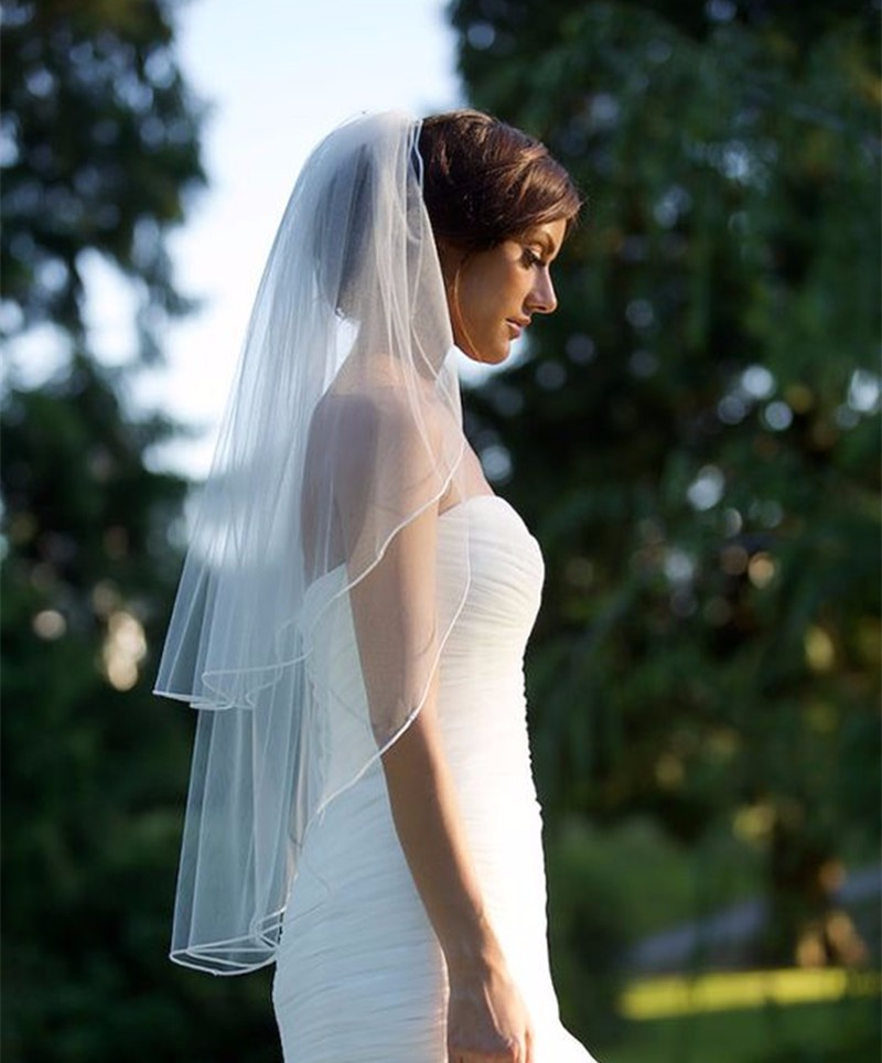 Hot Sell Simple Two Layers Veil <font><b>Short</b></font> Bridal Veil Wedding Veil <font><b>Short</b></font> Wedding Accessories <font><b>Velo</b></font> Para Novia EE612 image