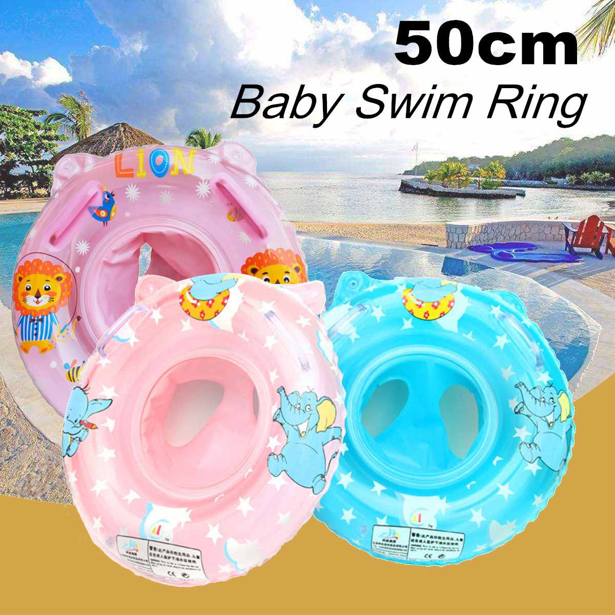 Baby Kids Swim Ring PVC Inflatable Toddler Float Swimming Rings Pool Float Water Seat Water Fun Sports Accessories 6 Colors