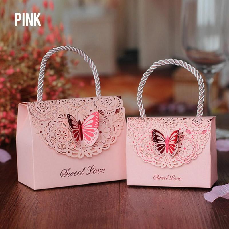 2pcs Hollow Butterfly Wedding Candy Box Tote Paper Gift Bags Handbag Baby Shower Birthday Party Decoration Christmas Supplies