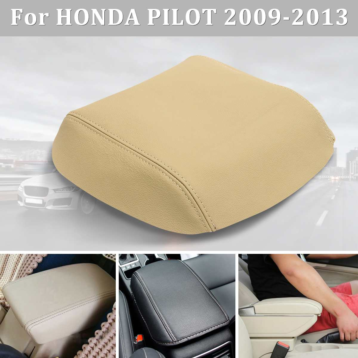its us Gray Console Lid Armrest Cover for Honda Pilot 09-13
