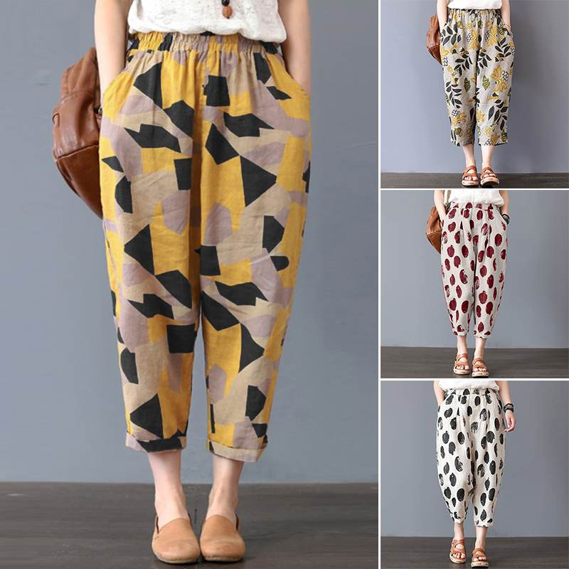 Casual Trousers Women's Harem Pants 2020 ZANZEA Summer Autumn Linen Pantalon Kaftan Female Plus Size Floral Cropped Pant 5XL