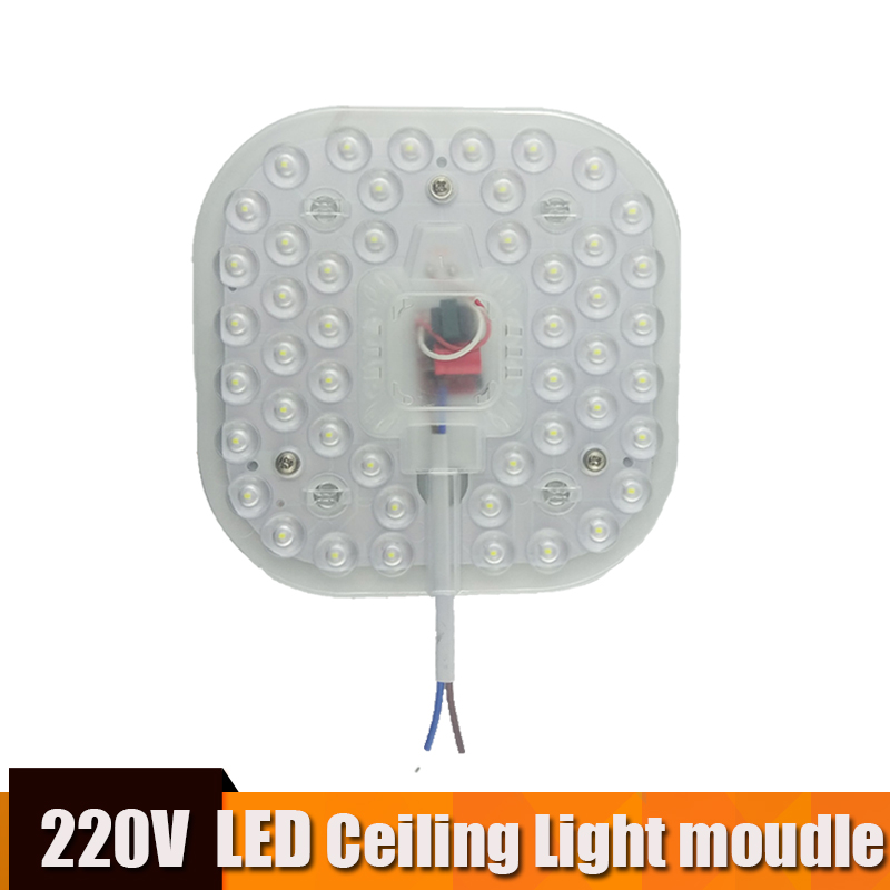 Led Module Light Square AC220V 230V 240V 12W 18W 24W Replace Ceiling Lamp Lighting Source Energy Saving Convenient Installation