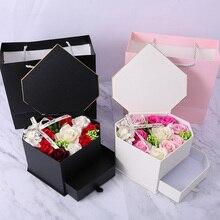 Мыло, цветок, свадебное украшение, двойной ящик, вечерние, для ванны, романтическое сердце, тело, Подарочная коробка, День Святого Валентина, лепесток, Роза