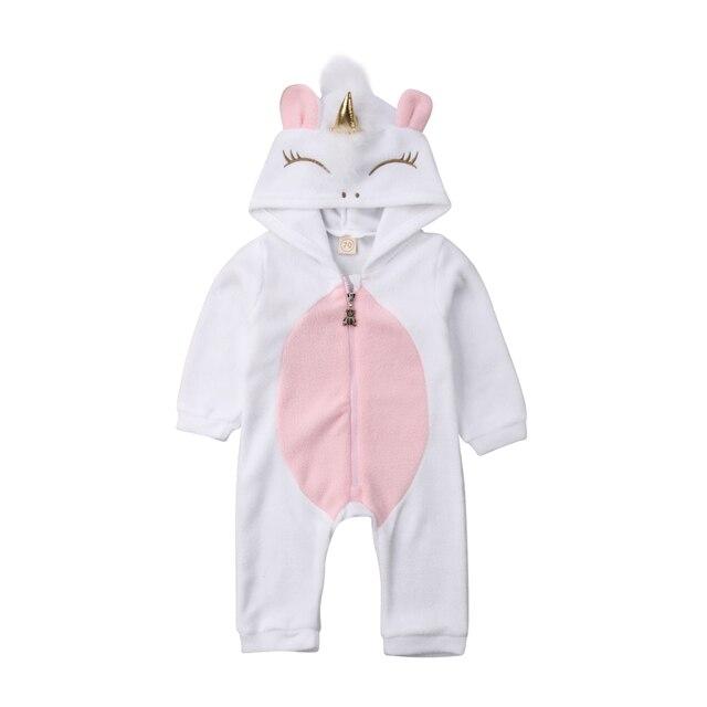 Unicorn יילוד תינוק ילד ילדה ארוך שרוול 3D כנף סלעית Romper סרבל תלבושות בגדים חמים 0-24 m