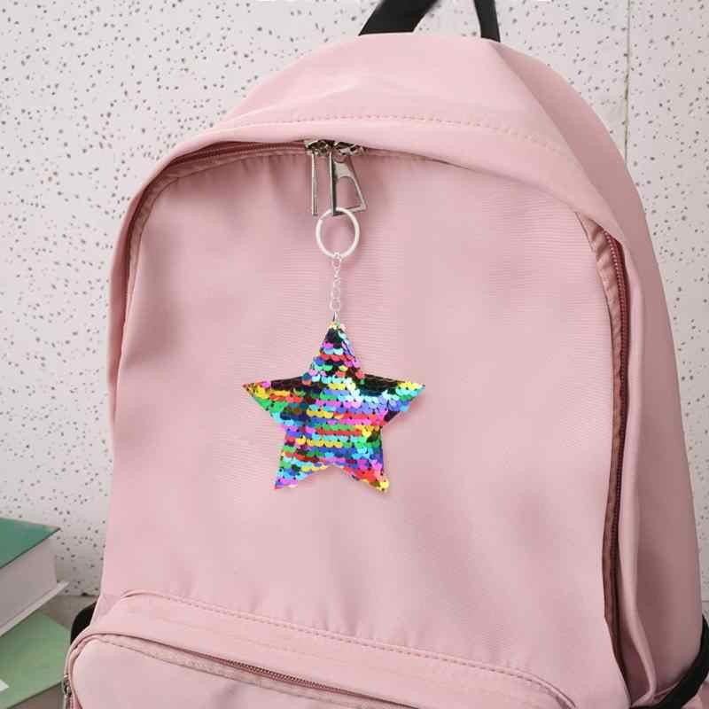 Lantejoulas coloridas Glitter Chaveiro Estrela Brilhando Menina Mochila Saco de Presentes Da Jóia 2019 Nova chaveiro Pendurado Decoração Multicolor