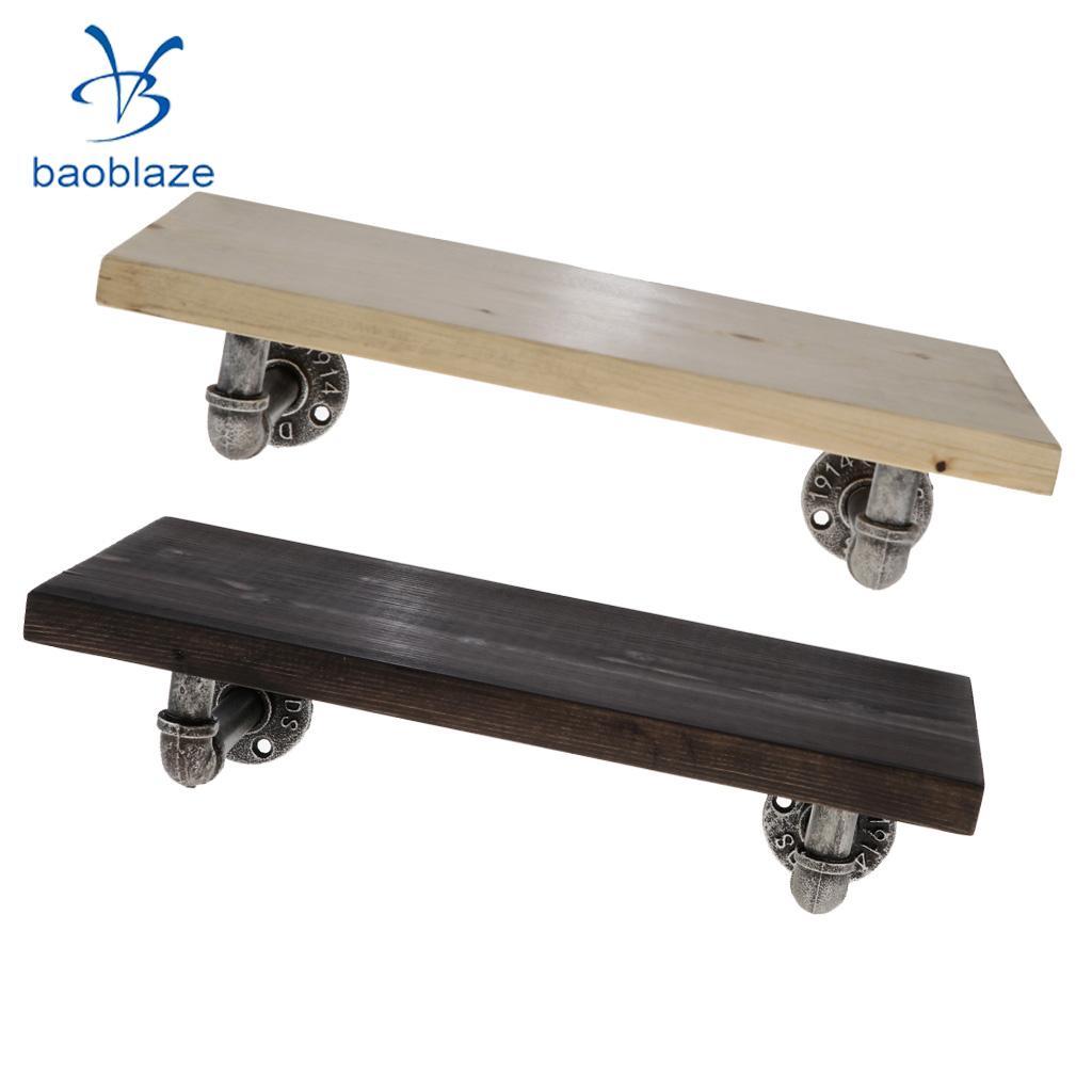 Honing Industriële Pijp Plank Wandmontage Ijzeren Pijp Beugel Houten Stellingen Boekenplank Drijvende Planken