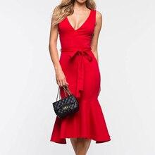 купить 2019 Summer Women Empire Dress Sexy Deep V-neck Knee-Length Bodycon Dress Solid Sleeveless Sashes Pleated Dresses  Red Vestidos дешево