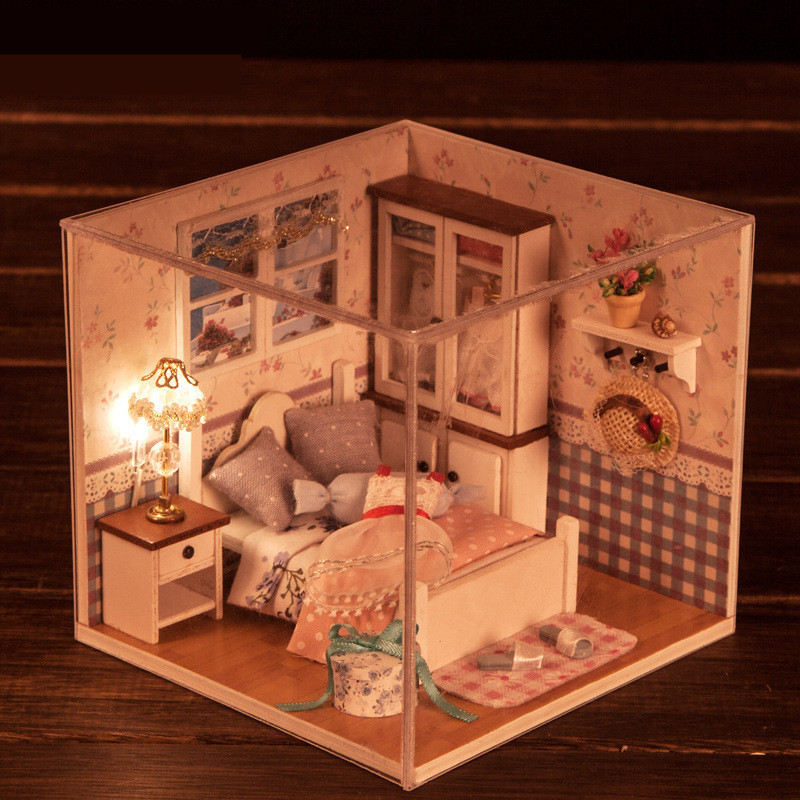 DIY Wood Dollhouse Sweet Words Bedroom Miniature Doll ...
