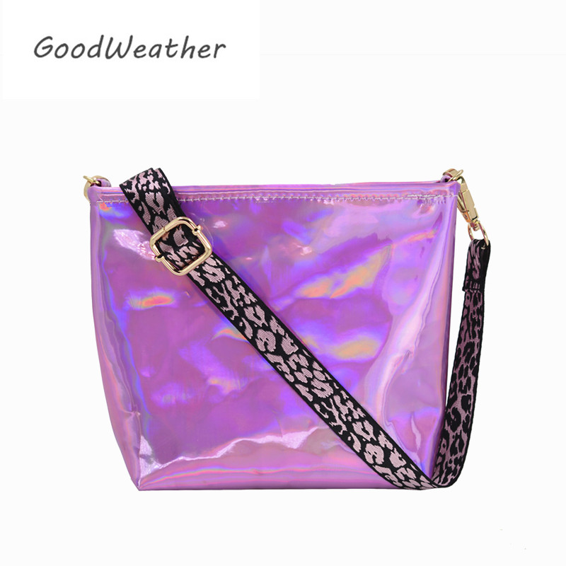 Women shoulder bag fashion mini laser holographic square pink bags cross body summer beach bag 2019 new belt shoulder bags holographic belt purse
