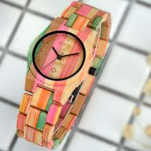 BEWELL Watches Women Top Brand Luxury Colorful Exquisite Bamboo Wooden Watch Fashionable Quartz Wrist For Ladies