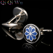 Free Shipping Blue Pattern Enamel Flower Cufflinks Male Business Buttons French Shirt Cuff links for Men's Jewelry Wedding Gift