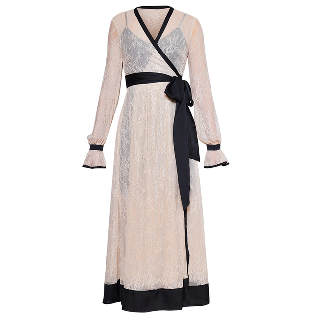 b74cb070d9 black trims beige lace sheer maxi dress womens 2019 clothing sexy fashion dress  wrap v neck sash belt long sleeve a line dress