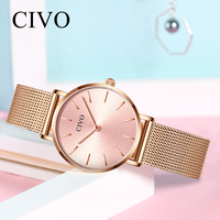 CIVO Luxury Ladies Watches Women Waterproof Silver Steel Mesh Minimalist Gold Quartz Watch Ultra Thin Bracelet Wristwatch Clock