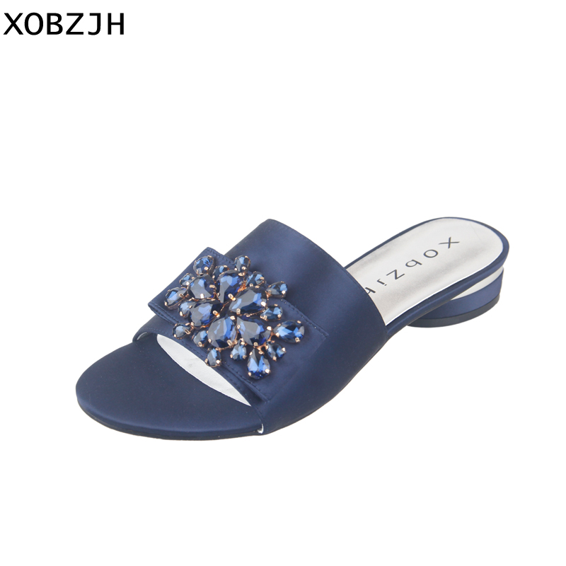 XOBZJH Womens Shoes 2019 Summer Blue Flat Sandals Open Toe Ladies Buckle Shoes Slippers Mature Ladies Luxury Party  Plus SizeXOBZJH Womens Shoes 2019 Summer Blue Flat Sandals Open Toe Ladies Buckle Shoes Slippers Mature Ladies Luxury Party  Plus Size