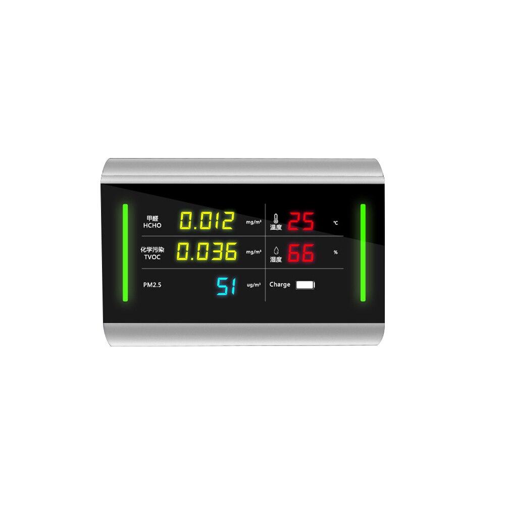 Gas Analysatoren Werkzeuge Gewidmet 5-in-1 Digital Usb Aufladbare Pm2.5 Detektor Tvoc Hcho Formaldehyd Meter Air Qualität Analyzer Mit Hörbarer Und Visuelle Alarm Farben Sind AuffäLlig