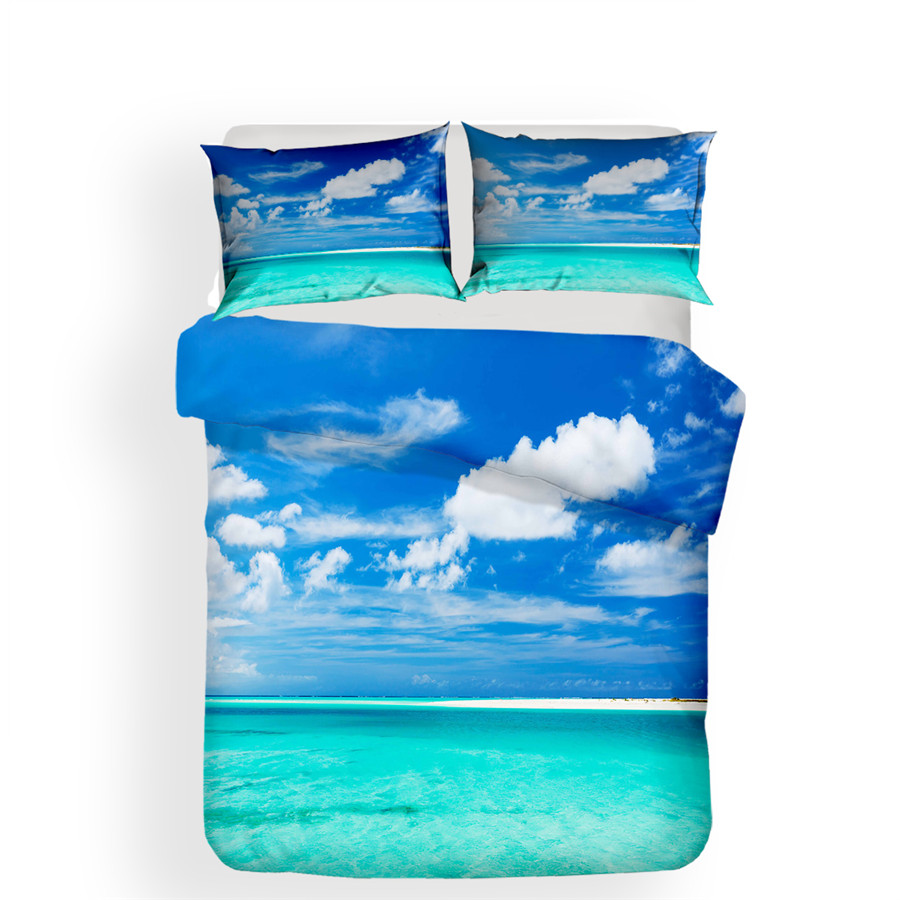 Image 2 - Bedding Set 3D Printed Duvet Cover Bed Set Beach Sea Wave Home Textiles for Adults Bedclothes with Pillowcase #HL18-in Bedding Sets from Home & Garden