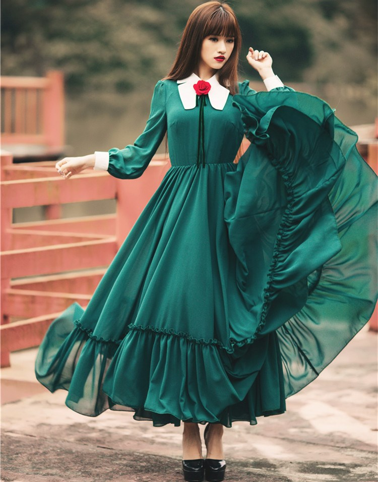 2019 Vintage Peter Pan Collar Party Dress Elegant Long Sleeve Swing Dress Ruffle Maxi Dress Vestidos