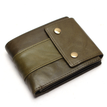 100% Genuine Leather Wallet Men Male Coin Purse Classic Cow With Zipper Pocket Card Holder