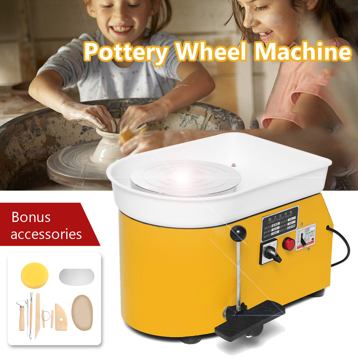 3 Colors Pottery Forming Machine 110V/220V Electric Pottery Wheel DIY Clay Tool with Tray For Ceramic Work Art Craft 250W/350W