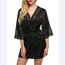Women Sexy Silk Dressing Babydoll Lace Lingerie Belt Bath Robe Nightwear Women Sexy Nightwear Plus Size