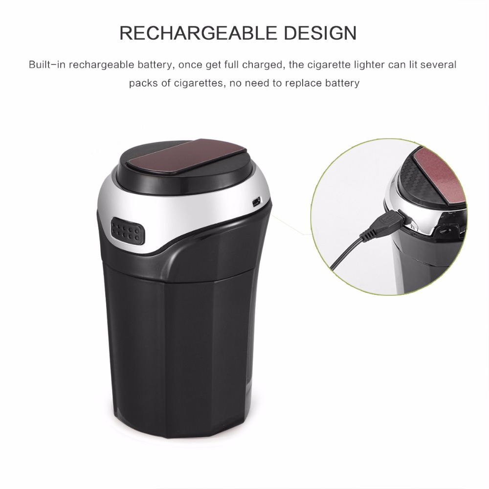 3 In 1 Rechargeable Car LED Ashtray Car Trash Can Removable Cigarette Lighter LED Light For Car Cup Holder