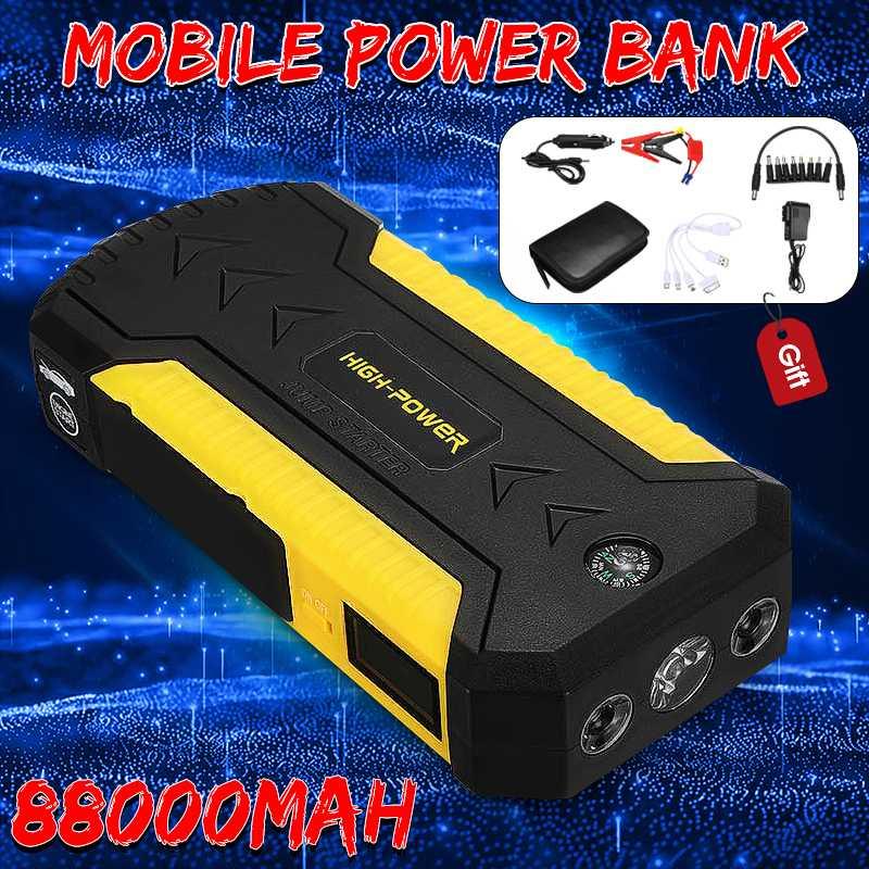 Démarreur de saut multifonction 89800 mAh 4USB 600A chargeur de batterie de voiture d'urgence Booster batterie externe dispositif de démarrage