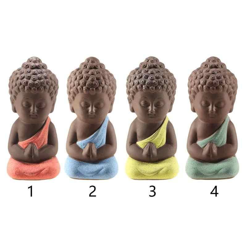 Pequeno Buda Tathagata Estátua Estatueta Monge Chá Pet Roxo Cerâmica Artesanato Vaso Carro Ornamentos Decorativos Estátuas Esculturas