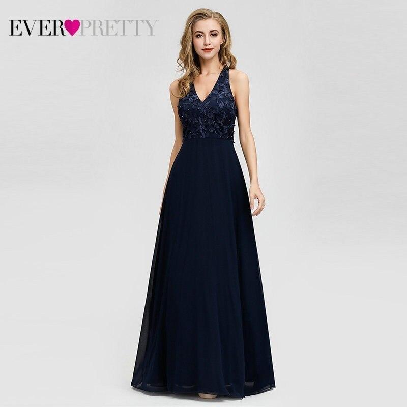 Robe De Soiree 2019 Ever Pretty EZ07605NB Navy Blue   Evening     Dress   Long Elegant A Line V Neck Appliques Beaded Formal Party Gowns