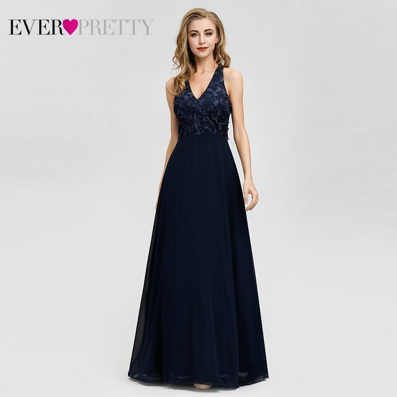 Robe De Soiree 2020 Ever Pretty EZ07605NB Navy Blue Evening Dress Long Elegant A Line V Neck Appliques Beaded Formal Party Gowns
