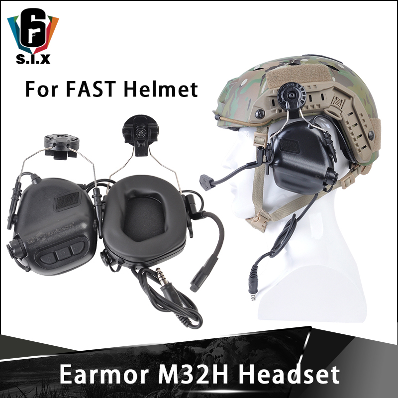 OPSMEN Earmor Softair Tactical M32H Noise Canceling Headphones For FAST Helmet ARC Helmet Rail Softair Earphones