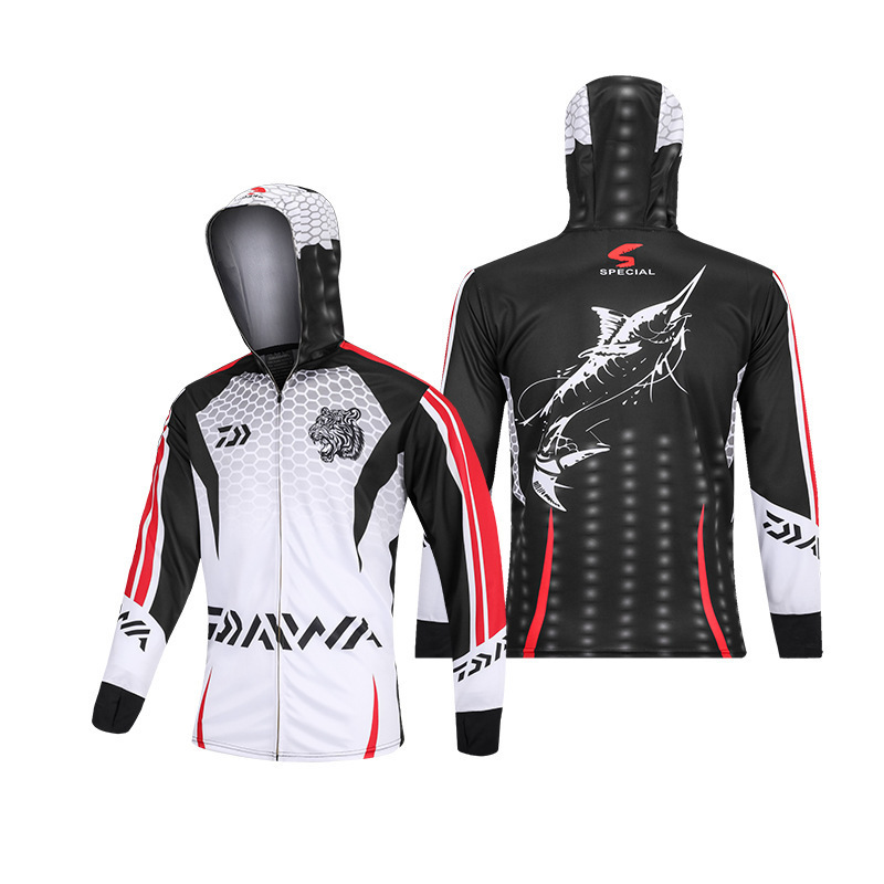 Summer Cool Fishing Clothing Long Sleeve Ice Cold Feel Hooded Shirt Daiwa Outdoor Quick Dry Sun-proof  Fishing Jerseys Plus Size