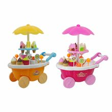 Girl Candy Cart Ice Cream Shop Supermarket Trolley Kids Toys With Light Music Cooperation skills(China)
