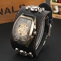 Роскошные мужские часы в готическом стиле  ретро бронзовые часы с черепом  мужские механические часы с кожаным платьем  мужские часы Relogio ...