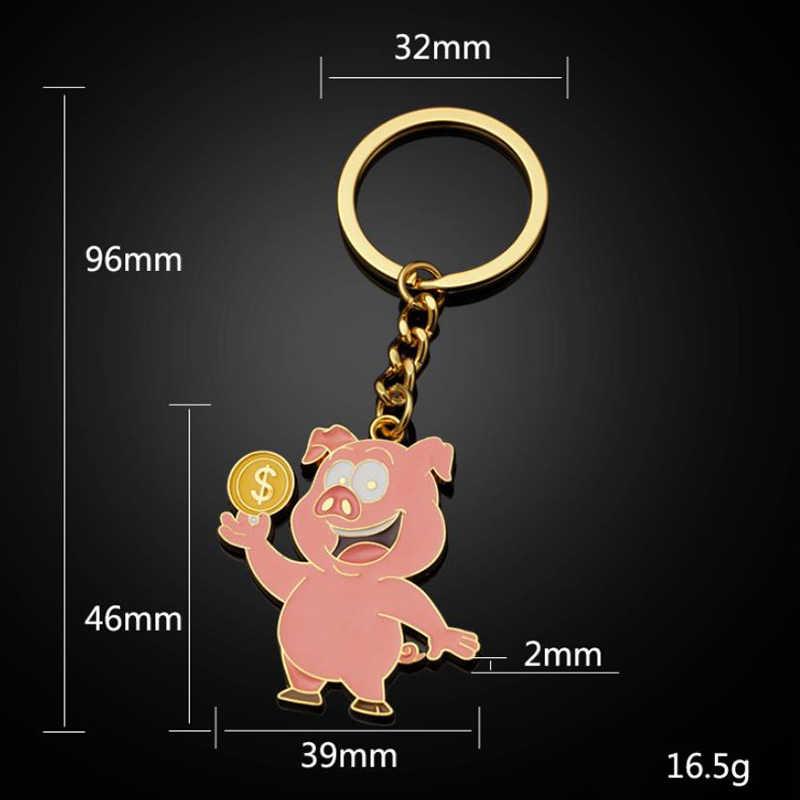 Chaveiro Presente Dos Namorados Casais legal Preto 1PC Saco de Letras de Prata Do Zodíaco Chinês Afortunado Bonito do Animal Carro de Ouro Vermelho porco Ama