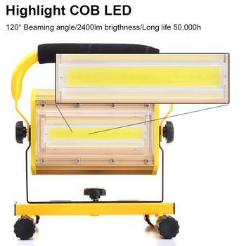 100W المحمولة القابلة لإعادة الشحن الصمام الأضواء الكاشفة بطارية تعمل بالطاقة بقيادة الكشاف مصباح العمل في الهواء الطلق التخييم 1