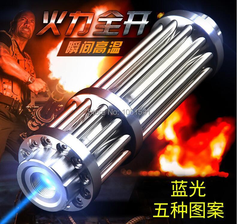 Spor ve Eğlence'ten Lazerler'de AAA en güçlü yanan Lazer meşale topu 450nm 500000m 50w el feneri mavi Lazer işaretçi yanık kuru ahşap ışık puro avcılık title=