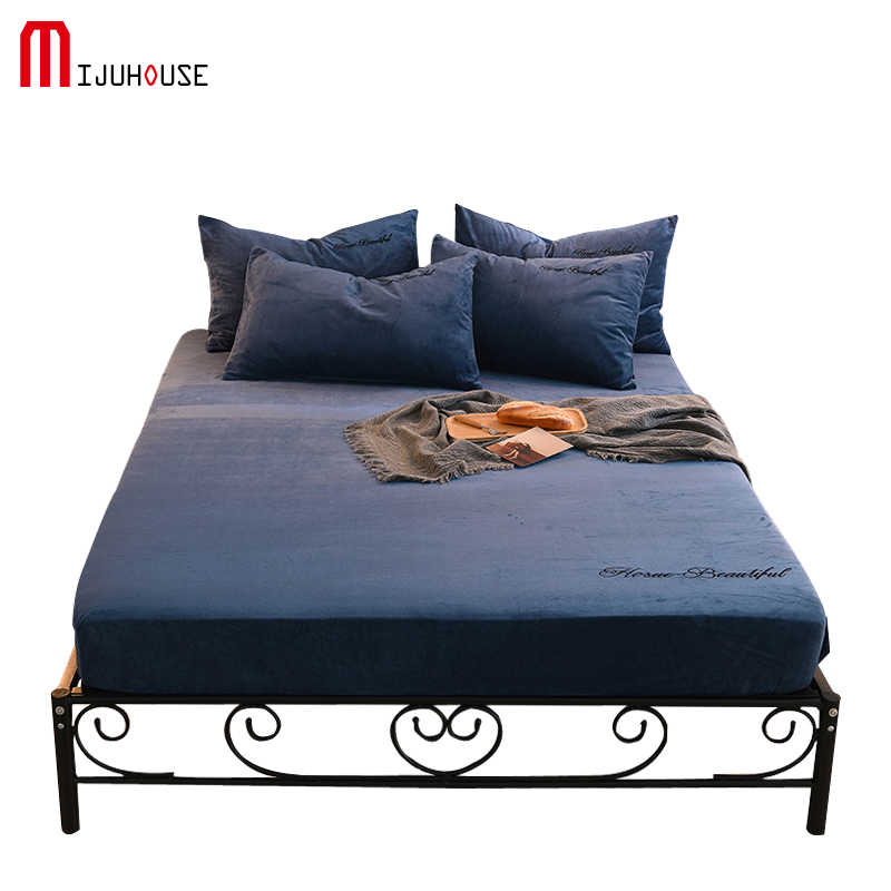 Velvet Fitted Sheet Winter Keep Warm Textile Fashion Solid Color Flannel Fleece Bedding Single Product 25cm Deep Bed Sheet 1PCS