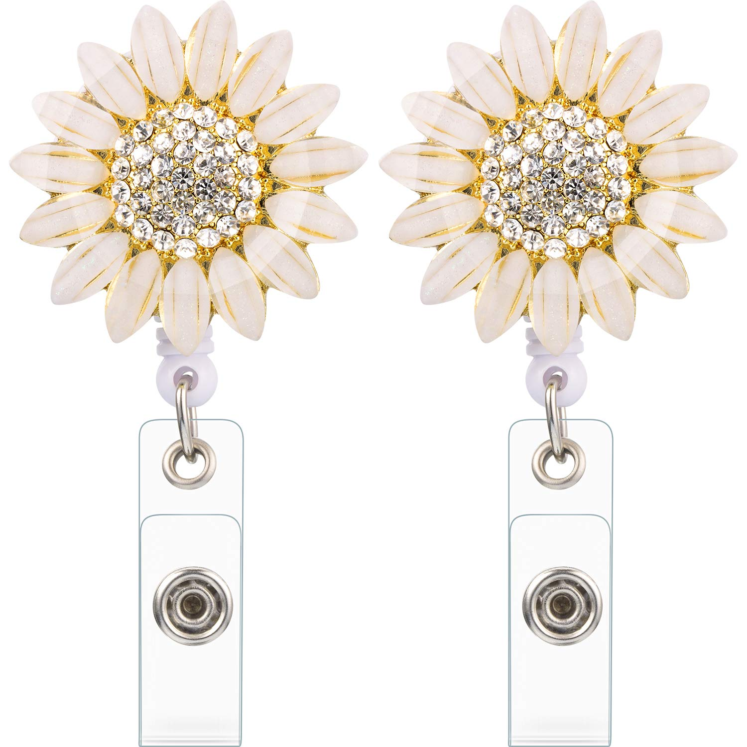 2 Pieces Rhinestone Flower Badge Reel Badge Retractable ID Card Holder With Alligator Clip