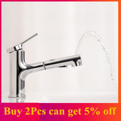 Bathroom Basin Sink Faucet w/ Pull Out Rinser Sprayer Gargle Brushing 2Mode Mixer Tap Cold&Hot Bathtub Faucet