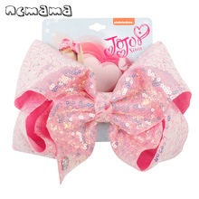 ncmama Hair Accessories 8 Inch Large Bows for Girls Sequin Ribbons Clips Bling Bow Hairgrips Solid Kids Headwear