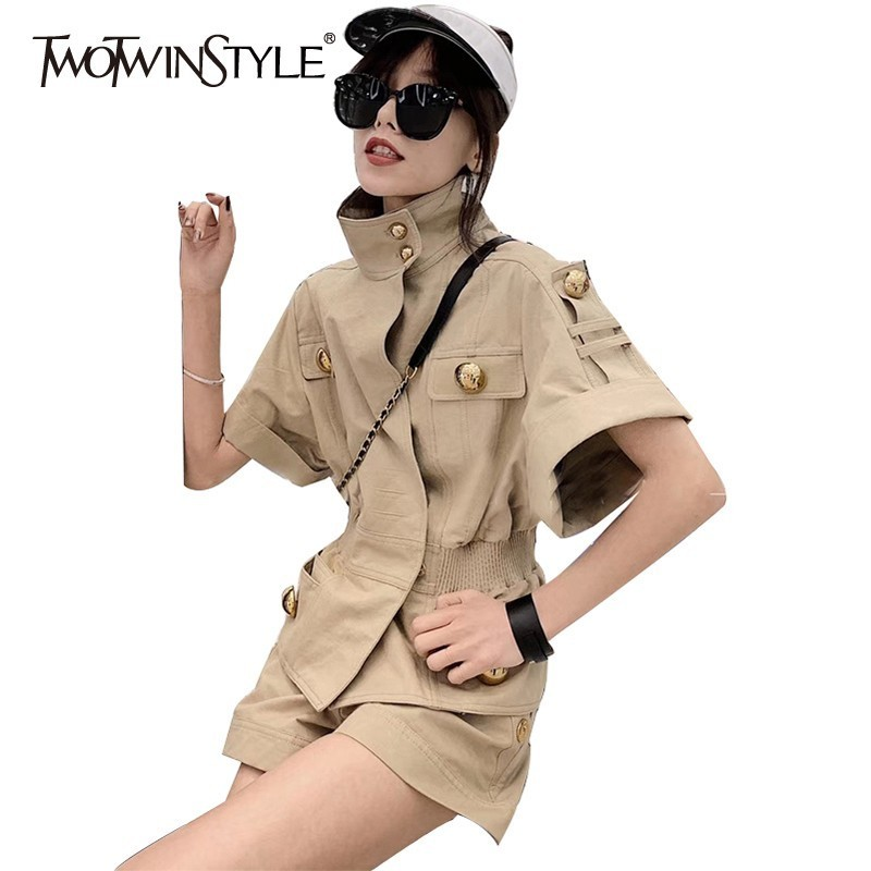TWOTWINSTYLE Summer Solid Button Women Suit Short Sleeve Turtleneck Tunic Tops High Waist Shorts Female Two