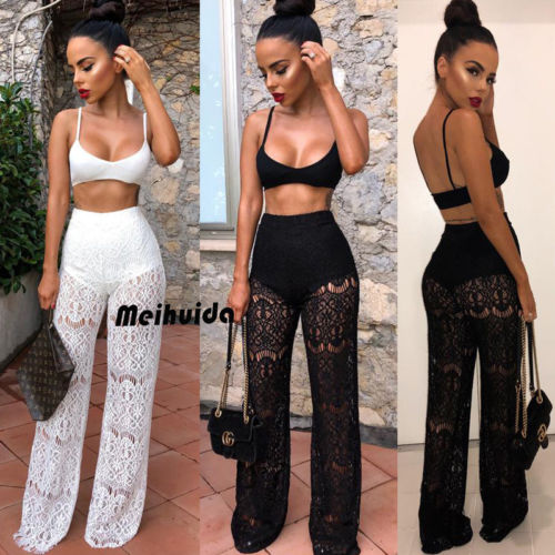 2020 Sexy Women 2 Piece Outfit Sets  Long  Lace Pants +Tank Top Bra Sleeveless Crop Tops Black White Sets