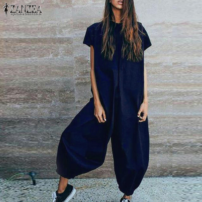 435419a39f7 Винтаж белье Комбинезоны для женщин женские фонари брюки девочек ZANZEA  2019 женский короткий рукав туника Pantalon