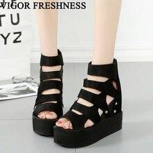 VIGOR/Летние босоножки; женская обувь; обувь на платформе и каблуке; пикантные женские босоножки, визуально увеличивающие рост; обувь в римском стиле; WY497