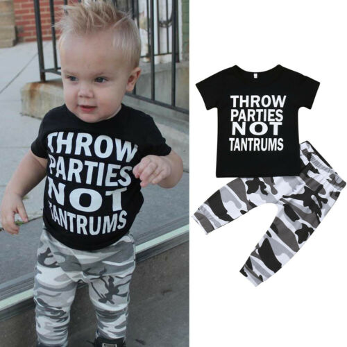 2pcs Newborn Toddler Kids Baby Boys Clothes T-shirt Tops+Camo Pants Outfits Sets
