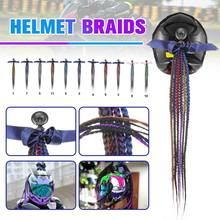 60cm Double Color Motorcycle Bike Gradient Ramp Helmet Braids Sucker Removable Braid Pigtail Ponytail Motocross Racing(China)