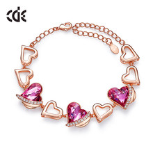 CDE Women Bracelets Embellished With Crystals from Swarovski Heart Bracelet Angel Wing Jewelry Chain Bracelets Bangles Jewelry(China)