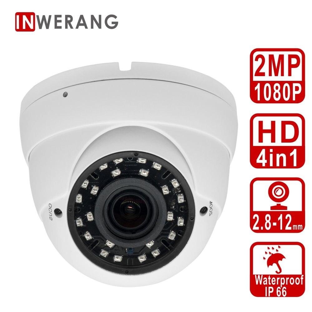 Inwerang HD 2MP 4in1 Dome Security Camera, 2.8-12mm Varifocal Lens Ourdoor/Indoor 100ft IR Distance, IP66 Day&Night VisionInwerang HD 2MP 4in1 Dome Security Camera, 2.8-12mm Varifocal Lens Ourdoor/Indoor 100ft IR Distance, IP66 Day&Night Vision